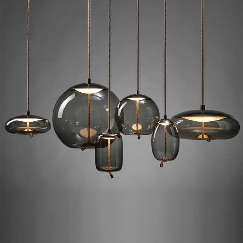 Moderne Led Anhänger Lichter Schmiedeeisen Glas Runde Ball Messing Stange  küche Hängen Lampen Wohnzimmer cafe Nordic licht leuchten