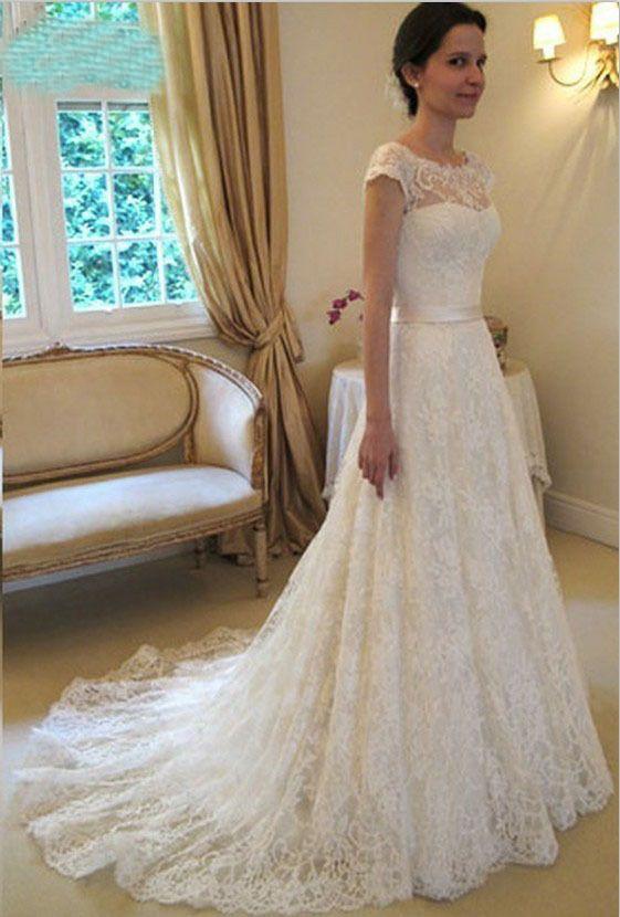 2020 Vestido De Novia Vintage A-Line Lace Wedding Dresses Cap Sleeves Bridal Dresses With Chapel Train Custom Made Wedding Dress