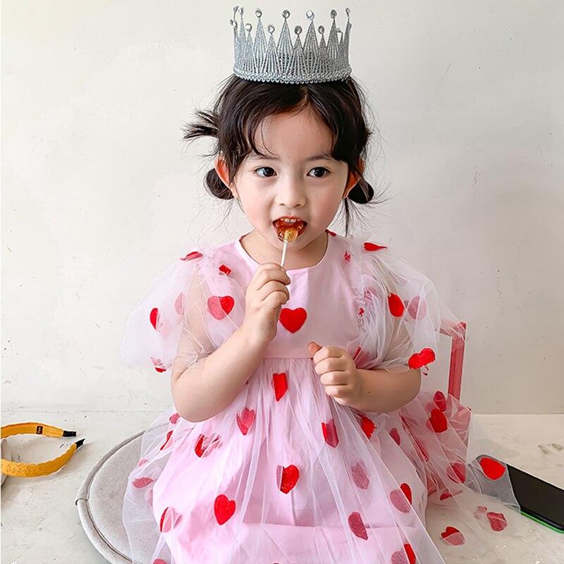 Verão meninas tutu vestido de bebê rosa crianças vestidos roupas moda bordado coração voar manga malha 1 a 7 anos