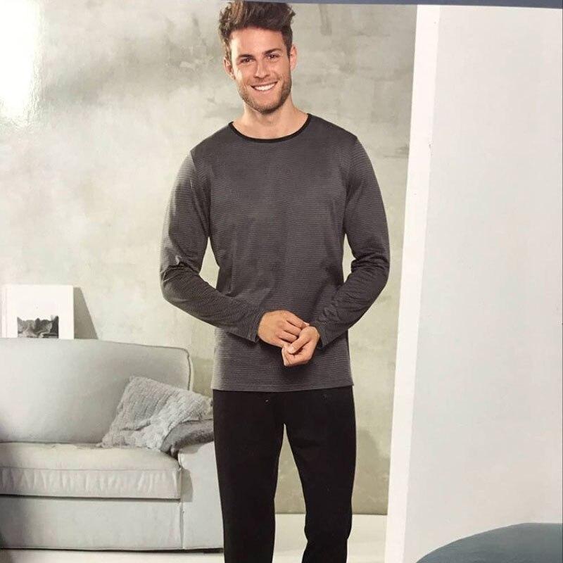 New Pajamas For Men Long Sleeve Trousers Cotton Woven Sleepwear Mens Pajamas Set Pijama Pullover