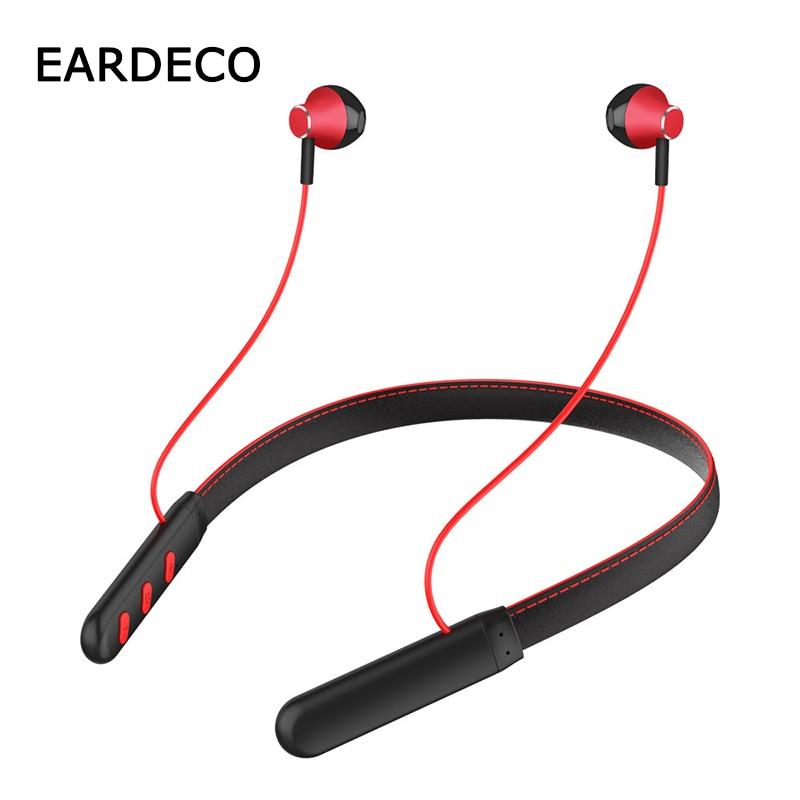 EARDECO Leather Neckband Bluetooth Earphone 5.0 Headphone Stereo Wireless Earphones Headphones Waterproof Sport Headset Mic|Bluetooth Earphones & Headphones|   - AliExpress