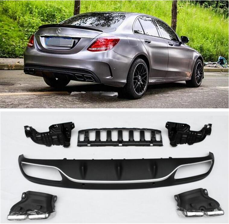 PP 4 Outlet <font><b>Rear</b></font> Trunk Lip Bumper <font><b>Diffuser</b></font> & Exhaust Tips For Mercedes-Benz W205 C63 AMG C180 C200 C250 <font><b>C300</b></font> 2015-2022 image