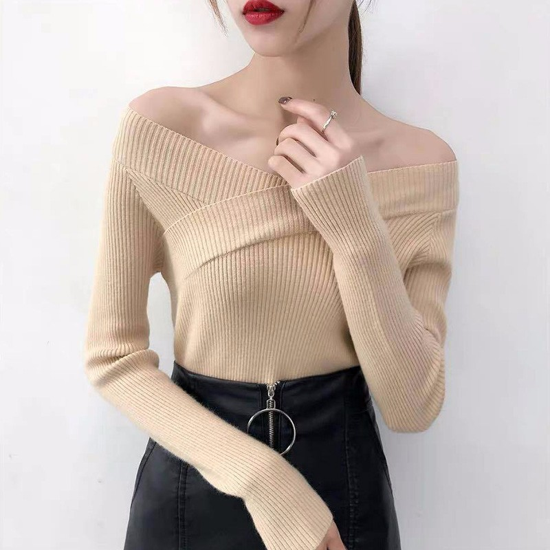 2019V-Neck Solid Autumn Winter Sweater  Pullover Women Female Knitted Sweater Slim Long Sleeve Sweater Cheap Fashion All-match