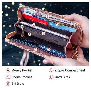 Image 5 - FOXER damski brokat skóra bydlęca długie portfele z nadgarstkiem luksusowa torebka damska Lady Clutch torba na telefon komórkowy fit Iphone 8 Plus