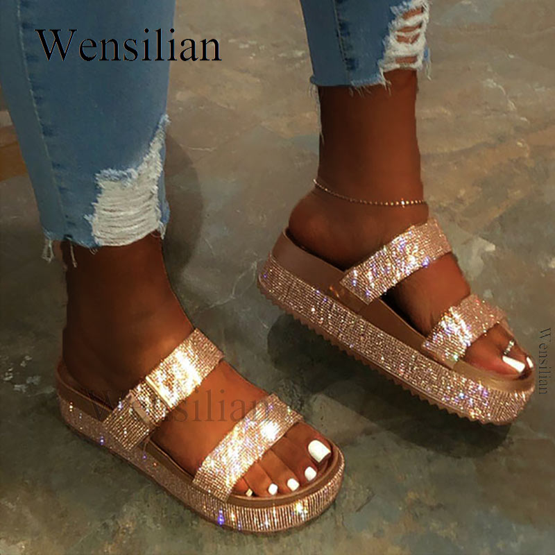 Summer Platform Sandals Women Bling Wedges Shoes For Women Slip On Flat Handmade Rhinestones Slides Casual Shoes Sandalias Mujer