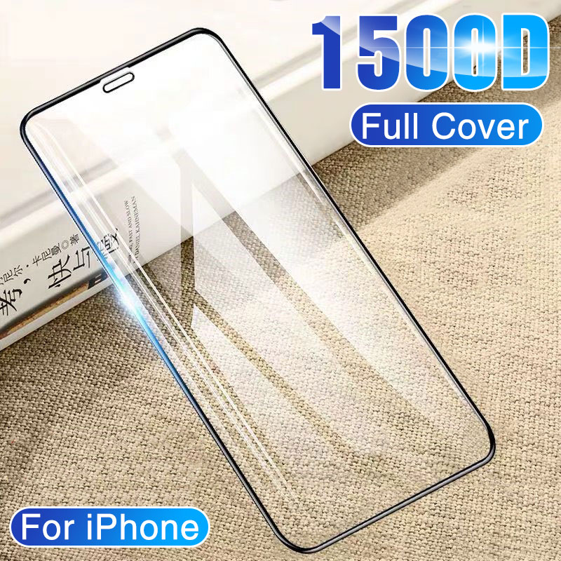 1500D Full Cover Tempered Glass On IPhone 11 Pro Max Glass 6 6s 7 8 Plus X Screen Protector Glass On For IPhone X XS Max XR Film