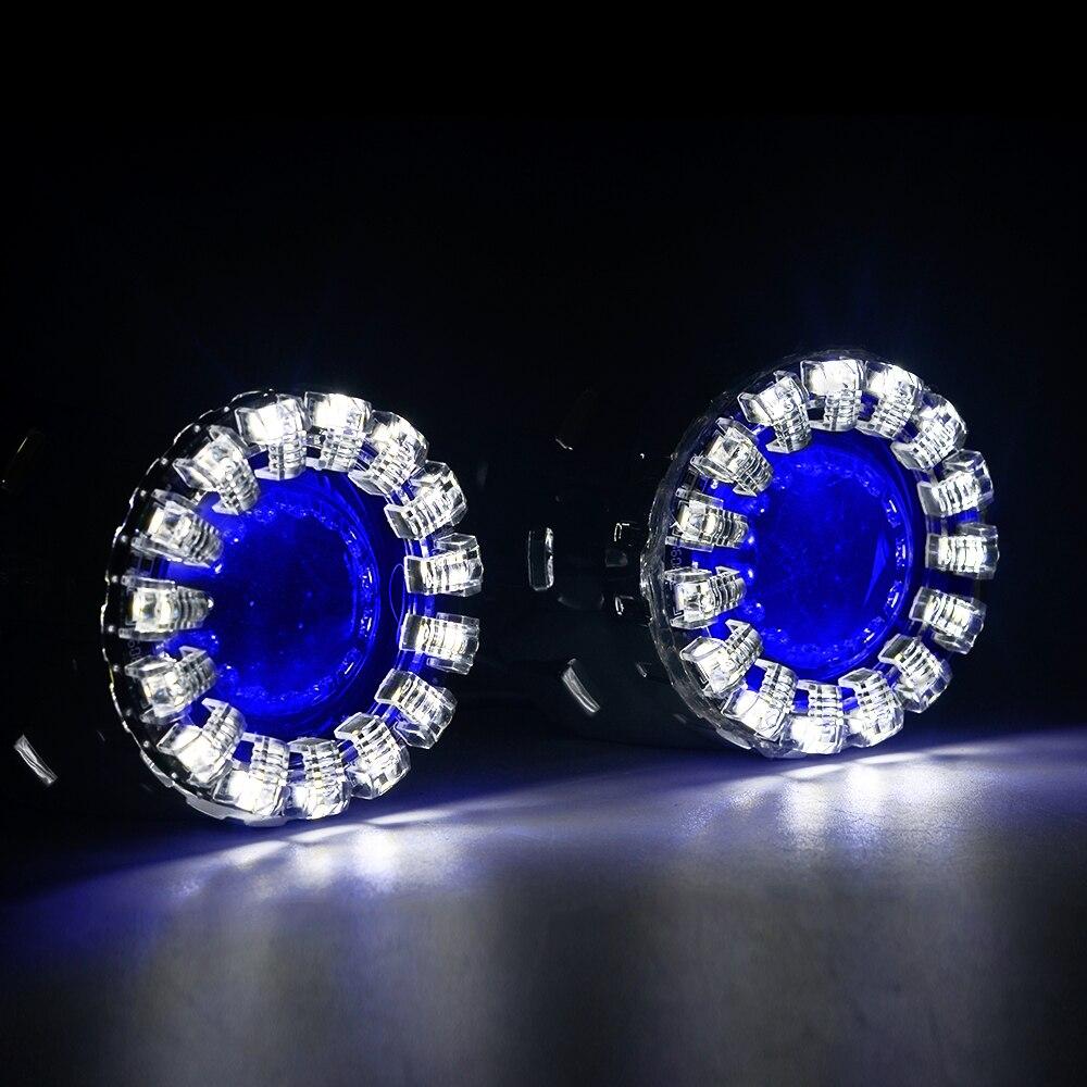 LED lumières de course Lotus Angel yeux HID 2.5 pouces Bi xénon projecteur lentille pour phares H4 H7 voiture modification phare diable yeux