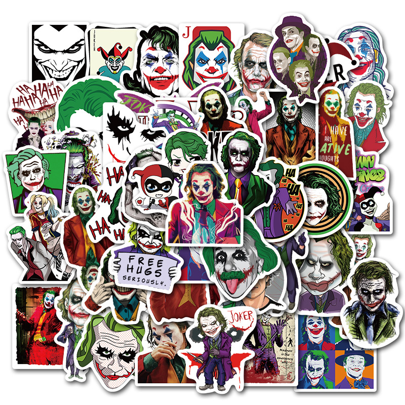 50PCS/lot Super Villain Movie Anime Cartoon Joker Sticker Waterproof For Luggage Skateboard Motorcycle Bicycle Cool Stickers