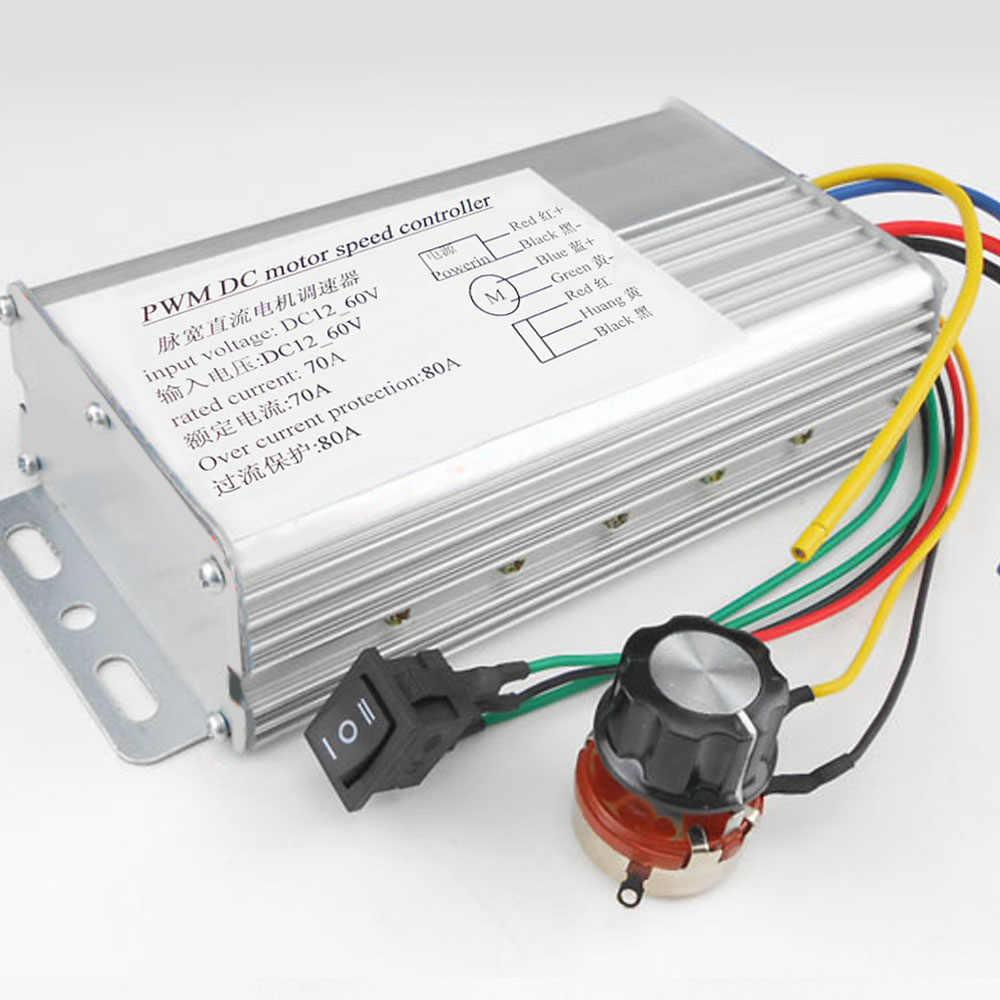 DC Brush PWM Motor Speed Control Brush Controller 12V 24V 36V 48V 4000W Portable