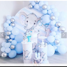 Round circle background  baby shower blue stripes cute elephant backdrop boy birthday party decor candy table fabric  YY-266