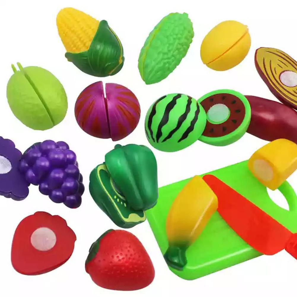 10 PCs Plastic Cutting Fruits And Vegetables Set Play Food Set For Pretend Play Educational Puzzle Learning Plastic Toy Satety