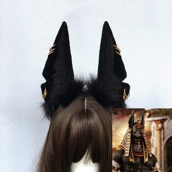 Anu bóg śmierci Anubis hu wilk uszy symulacja bestia ucho akcesoria do włosów dla cosplay