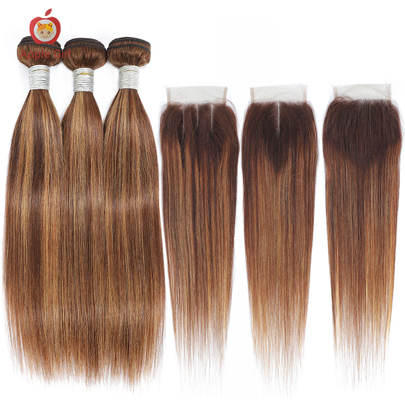 Highlight 3 Bundles With Closure    Bundles With Frontal Colored Applegirl Straight  Hair 4PCS/LOT 3