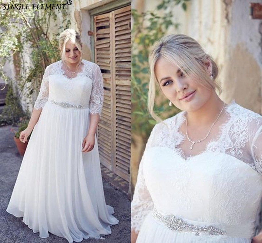 Plus Size Wedding Dresses With Crystals Sash Half Sleeve Vestidos De Novia Boho Chiffon Bridal Gown