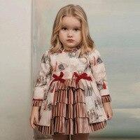 2019Autumn Girls Spain Retro Palace Dress Girl Quality Princess Dress Children Christmas Dress Girl Toddler Girl Winter Clothes