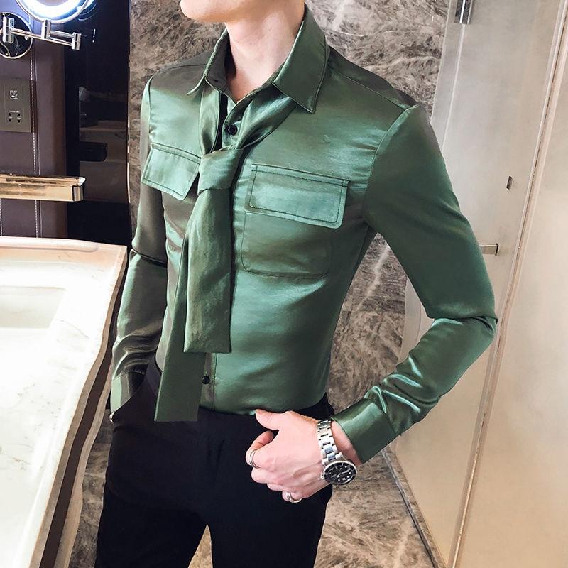Camiseta Masculina Men's Fashionable Solid Color Long-sleeved Shirt Slim Tie Remove Men's Shirt Chemise Homme Manche Longue 5