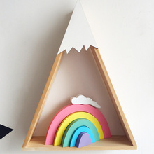 Wooden Ornaments Rainbow Decoration Bedroom Handicraft Party Building Blocks Beautiful Wedding Toy Home Decorations