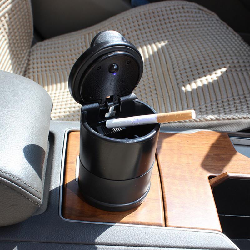 Nouveau LED Portable voiture porte-cendrier tasse voitures noires haute ignifuge poubelle lumière automatique Mini facile poubelle avec lumière pour voiture
