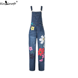 Image 1 - Plus Size 5XL Jeans Women Florals Printing Denim Jumpsuits Rompers Female Slim Suspender Trousers Women Loose Overalls Jumpsuit