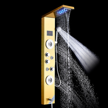 Brushed Nickle ORB Bathroom Luxury Rain Waterfall Mixer Shower Shower Panel LED Light Massage Jet Brass Tub Spout Shower Column 19
