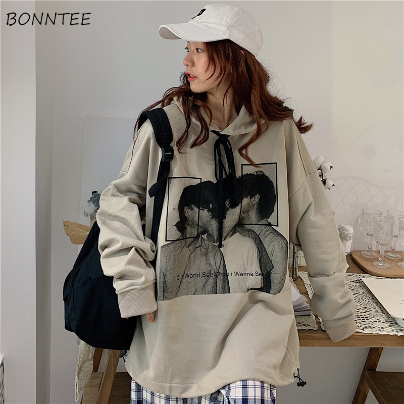 Hoodies Women Thin Spring Autumn Loose Hooded Korean Style Fashion Simple Printed Streetwear Womens Clothing Chic Ulzzang Casual