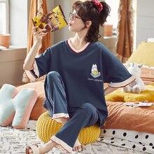 Bonito impressão pijamas feminino 2 peças define algodão macio cintura elástica calças compridas pijamas mujer 100kg mais tamanho 4xl 5xl