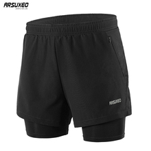 ARSUXEO Men Running Shorts 2 in 1 Sports Shorts Quick Dry Active Training Exercise Jogging Gym Shorts With Zipper Pockets B202