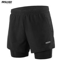 Arsuxeo shorts de corrida masculino 2 em 1, calção esportivo com secagem rápida para treino, exercícios e corrida, com bolsos e zíper b202