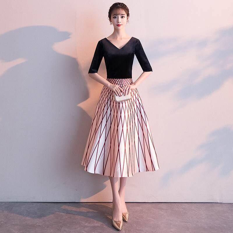 2019 V Neck Black   Dress   Elegant Short   Cocktail     Dresses   Prom   Dresses   Robe   Cocktail   Tea Length Formal   Dress