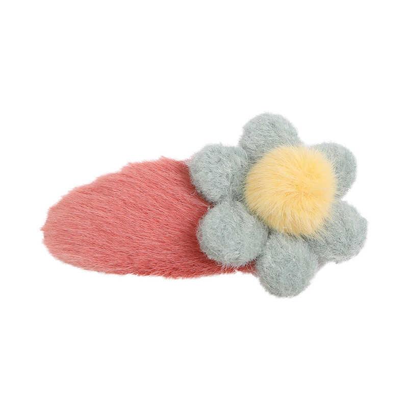 1 pc inverno macio pelúcia flor hairpins doce ornamento de cabelo barrettes grampos de cabelo feminino bonito linda meninas acessórios para cabelo headwear