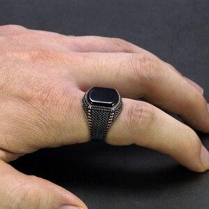Image 5 - ตุรกีเครื่องประดับสีดำแหวนผู้ชาย น้ำหนัก6G 925เงินสเตอร์ลิงแหวนบุรุษแหวนหินธรรมชาติVintage coolแฟชั่น