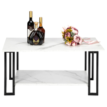 Artisasset 1.5cm 2 Layers Thickened MDF Imitation Marble Iron Coffee Table with Rectangle Tabletops Household End Tables