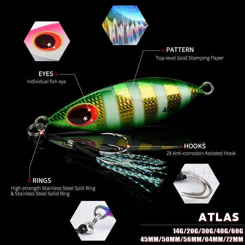 Allblue atlas metal jig colher isca 14g 20g 30g 40g 60g artificial isca costa lento jigging super duro chumbo baixo pesca equipamento