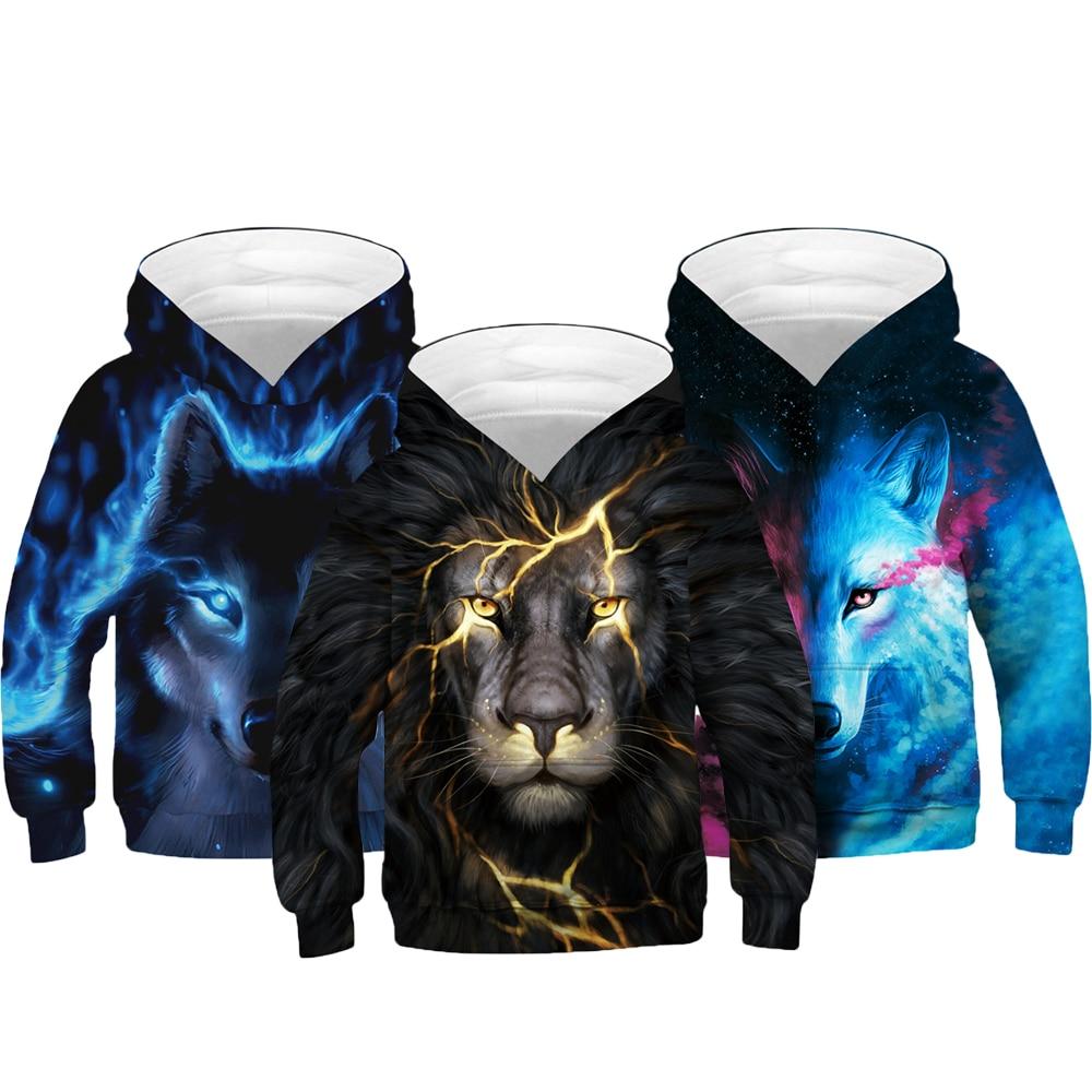 4-14 Years Boy Hoodies Autumn 3D Thunder Lion Wolf Fox Teenagers Sweatshirt For Boys Christmas Halloween Gift Children Coat