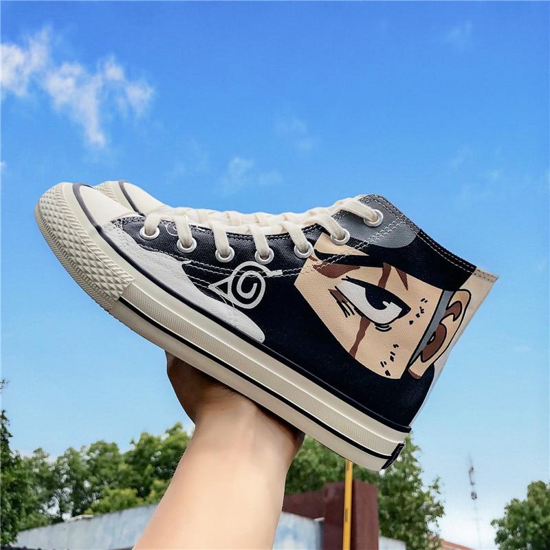 New Anime Naruto Konoha Kakashi Cosplay Props Akatsuki Uchiha Obito Canvas Shoes Teens School Sports Shoes Outdoor Travel Shoes