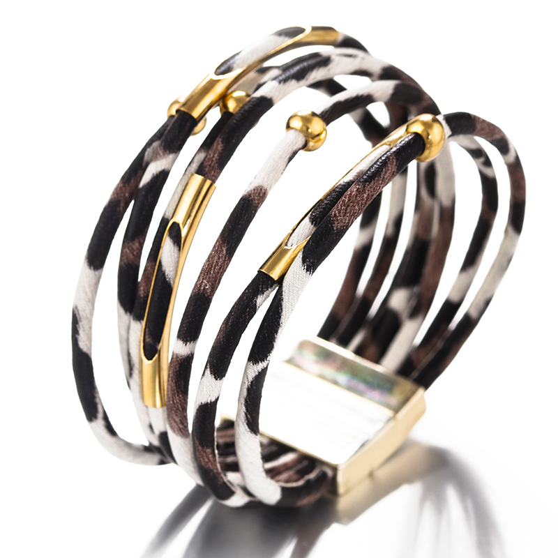H58dd8c9c46e54f4bbcf5b14a11d5049bK - Amorcome Leopard Leather Bracelets for Women Fashion Bracelets & Bangles Elegant Multilayer Wide Wrap Bracelet Jewelry
