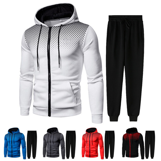 Men Gradient Zip Cardigan Suit Tracksuits Spring Autumn Hoodie Jogging Trousers Fitness Casual Clothing Sportswear Set Plus Size 1