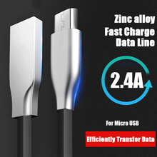 Micro USB Cable Zinc Alloy Flat Ultra Durable Data Transmission Android for Samsung Xiaomi Huawei Microusb Cord