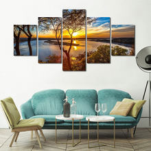 No Framed 5 Pieces Abstract Setting Sun Landscape Canvas Painting Prints Decorative Posters for Living Room Home Decor Artwork