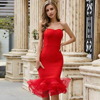 Ocstrade New Arrival Mesh Ruffled Red Bandage Dress 2020 Women Strapless Bandage Dress Bodycon Sexy Night Club Party Dresses ocstrade suede strapless bandage dress 2020 new arrival summer women sexy black bandage dress bodycon midi club party dresses
