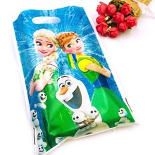 10pcs/set Frozen Anna And Elsa Snow Girl Baby Birthday Party Decoration Birthday Party Decorations Kid Loot Bag Gift Bag(China)
