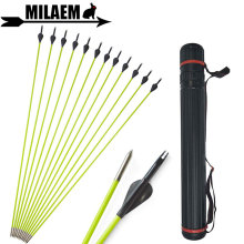 12pcs 31inch Archery Fiberglass Arrow With Quiver 80cm OD5mm Fixed Points Spine 600 Recurve Compound Shooting Accessories