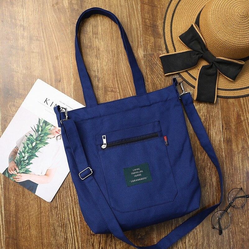 Soft Canvas Bag Large Capacity Women Shopping Bag Casual Hasp Ladies One Shoulder Tote Bags Fashion Zipper Women Handbags