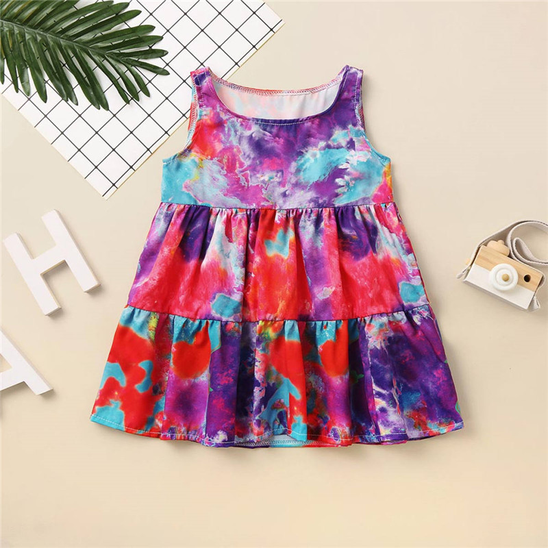 Summer Kids Baby Sleeveless Girls Dress Tie dye Dress Rainbow New Year Party Little Princess Costume Children Beach Clothes 5