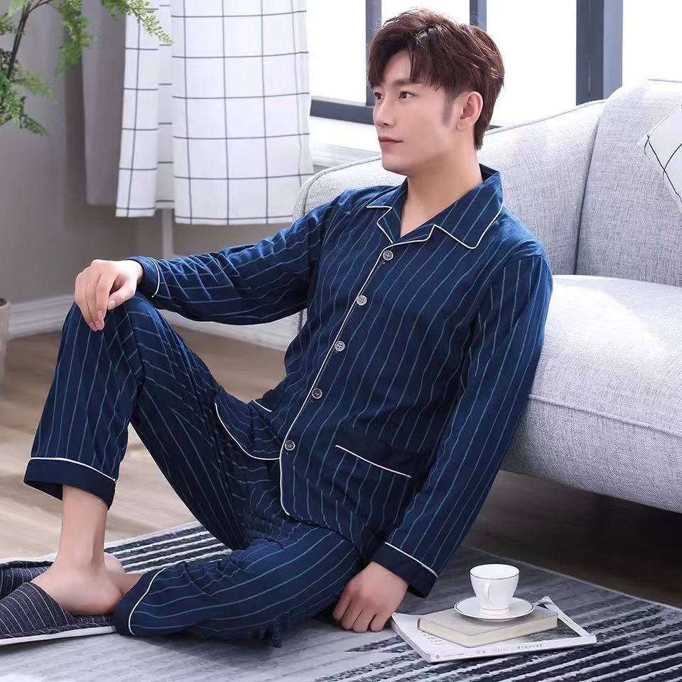 2019 Homewear Clothes Long Sleeve Breathable Cotton Sleepwear Pajamas Men Set 2pcs