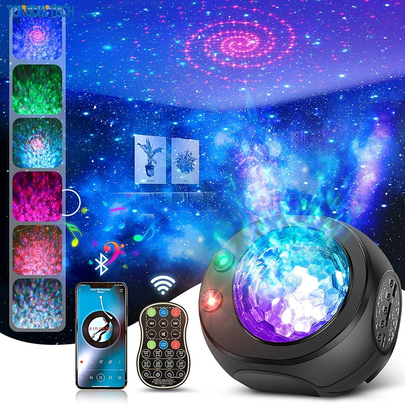 LED Starry Sky Projector Star Night Light Music Starry Water Wave LED Projector Light With Bluetooth Music Speaker Birthday Gift