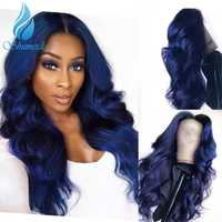 SHD Dark Blue Lace Front Wigs with Pre Plucked Hairline Brazilian Remy Hair Body Wave Lace Front Human Hair Wig with Baby Hair