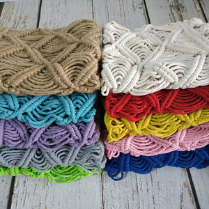 Image 2 - Newborn macrame blanket photography props,Baby colorful basket mat photography props