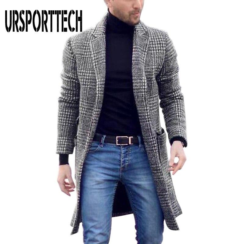 Autumn Winter Vintage Mens Plaid Lapel Collar Midi Woolen Coat Warm Slim Cardigan Coat Fashion Men Hoodie Thick Long Wool Coat
