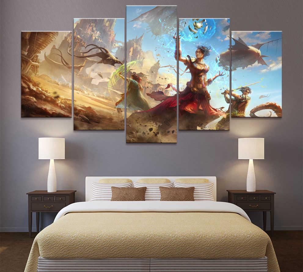 5 ชิ้นการ์ตูนภาพงานศิลปะเกม Torment: Tides of Numenera เกมโปสเตอร์ภาพวาดผ้าใบสำหรับตกแต่งบ้าน Wall